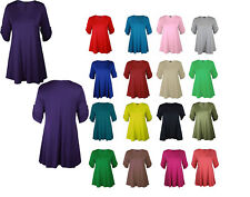 Womens Short Turn Up Sleeves Plus Size Button Ladies Flared Swing Dress Long Top