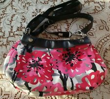 Thirty-One Black Multi Strap Handbag Purse Red Pink Floral Removable Cover EUC