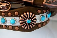 Ladies Western Leather Belt Turquoise Studs Flower Concho Bronze Buckle S-M-L-XL