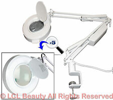 New 5x Magnification (16) Diopter White Clamp on Mag Lamp Light Salon Equipment