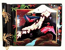 Photo Album Vintage Asian Japan Black Lacquer Abalone Inlay Wood 11 x 8 inches
