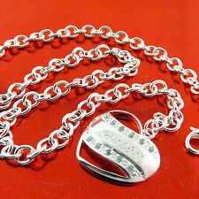 NECKLACE CHAIN 925 STERLING SILVER S/F DIAMOND SIMULATED ANTIQUE HEART DESIGN