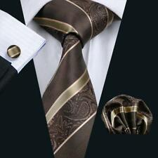 USA Paisley Mens Brown Striped Necktie Silk Tie Hanky Cuffflinks Formal Set 506