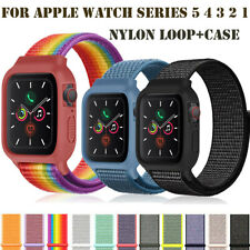 38/42/40/44mm Nylon Sport Band Loop Strap+Case Cover for iWatch Series 5 4 3 2 1