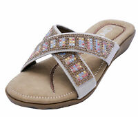 LADIES SILVER SLIP-ON SLIDERS COMFY FLAT MULES HOLIDAY CASUAL SANDALS SHOES 4-8
