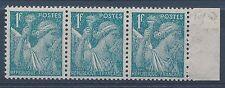 G0597 - TIMBRE DE FRANCE - N° 650 En bande de 3, Papier Japon en Bord de Feuille