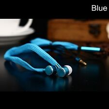 Universal 3.5mm Metal Shoelace Earphone In-ear Stereo Headphone With Mic SK Blue