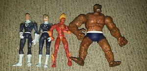 "Fantastic Four Johnny Sue Reed and Ben Marvel Legends 6"" Action Figures Toy Biz"