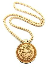 "NEW MEDUSA WOOD PENDANT &36"" WOODEN BALL CHAIN HIP HOP NECKLACE - XJ218"