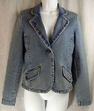 SHORT CUT Pink Inside DENIM Fitted AMERICAN EAGLE Blazer Jeans Jacket! S/P