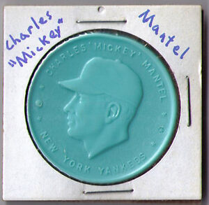 1955 Armour aqua light blue hot dog coin Mickey Charles Mantle Mantel NY Yankees