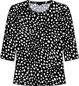 Lebek Damen 3/4 Shirt 78580012 Farbe: 99 black / offwhite