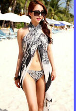 Swimsuit Coverup Dress Sarong Mult-Way Wear One Size White Black Paisley Pareo