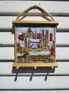 Decorative Wall Hanging Tile Souvenir of London Key Holder