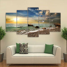 Seagull Beach Sunset Seascape 5 panel canvas Wall Art Home Decor Print Poster