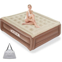 Air Mattress with Built-in Pump Twin / Queen,Inflatable Blow Up Air Bed Comfort