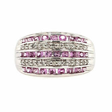 0.30 ct tw F SI-1 Round Cut Diamond and Pink Sapphire Ring 14K White Gold
