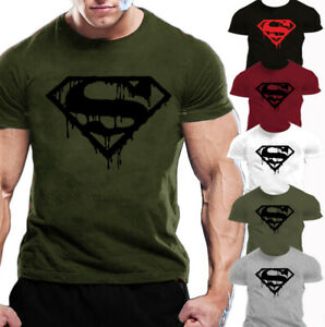Superman Gym Workout Exercise  Bodybuilding Casual Training  Sport T-shirt