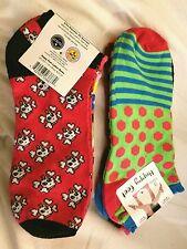 NEW Women's Happy Feet Crew Socks 6 Pairs Shoe Size 4-10 Skulls Colorful NWT
