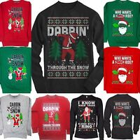 Limited Edition Mens Christmas Dabbin Through The Snow Ugly Sweatshirt Top S-XXL