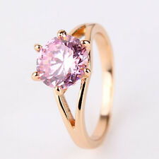 18k gold filled nice-looking wedding round pink sapphire woman ring SzJ-SzR