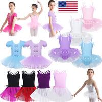 US Girls Ballet Dance Tutu Skirts Gymnastics Skating Leotards Gym Dress Costumes