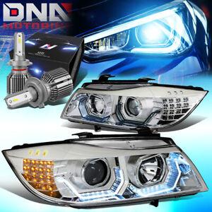 FOR 2006-2008 BMW E90 3-SERIES 3D U-HALO HEADLIGHTS W/LED KIT+COOL FAN CHROME