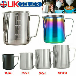 Stainless Steel Milk Coffee Cup Frothing Jug Frother Latte Pitcher Container UK