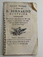 Triduo in onore del beato Gherardo di Offida cappuccino 1796 per Bartolomeo Bart