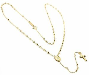 18K YELLOW GOLD 19 INCHES MINI ROSARY NECKLACE MIRACULOUS MARY MEDAL JESUS CROSS