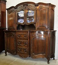 Antique Country French Oak Serpentine Front Vaisselier Cupboard Buffet Circa1895