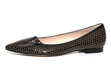 623982d2fd7c L.K. Bennett Holly Women s Pointy Toe Flat Black Metallic Size EU 37 1125