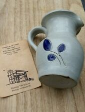 "Williamsburg Pottery Blue Salt Glaze Mini Creamer Pitcher Cobalt Blue Leaf 4"""