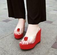 Transparent  Womens High Platform  Wedge Slippers  Heels Summer Sandals Mules