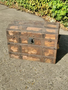 Vintage  Banded Domed Top Storage Travel Trunk / Chest