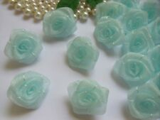 "1 "" Light Blue Organza Ribbon Roses Flowers Appliques-Lots 50 Pcs (R0082L)"