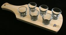 Curler Enamel Male Set of 6 Shot Glasses with Wooden Paddle Tray Holder 93