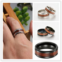 8mm Tungsten Carbide Ring Wood Inlay Band Ring For Men Women Couple Jewelry Hot