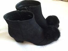 Black faux suede ankle boots with pompoms size 39 VGC