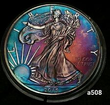 2015 Rainbow Monster Toned Silver American Eagle Coin 1oz  uncirculated #a508