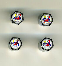 Budman Budweiser 4 Chrome Plated Brass Tire Valve Caps Car or Bike Golf Carts