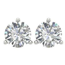 Solitaire Studs Earrings Martini Set I1 G 1.50 Ct Natural Diamond 14K White Gold