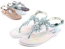 1614097a29a1ea Mint Blink Slingbacks Ankle Strap Rhinestones Womens Thong Flats Sandals  Size 5