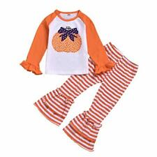 Toddler Baby Girl Halloween Outfits Pumpkin Long Sleeve Top+Stripe Flared Pants