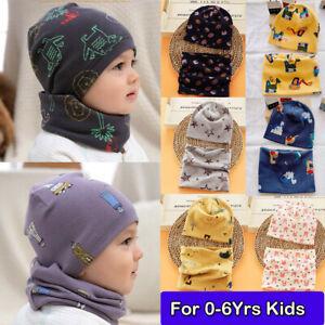 Baby Kids Boys Girls Cotton Hat Tube Scarf Set Toddler Spring Autumn Beanie Cap