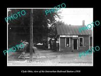OLD LARGE HISTORIC PHOTO OF CLYDE OHIO, THE INTERURBAN RAILROAD STATION c1910