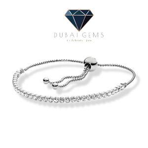 White gold finish created diamond round cut Designer Friendship Bracelet
