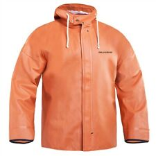 Grundens Brigg 40 Hooded Commercial Fishing Jacket Parka Rain Gear Orange L XL
