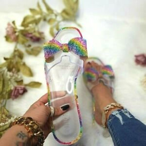 Womens Bling Rhinestone Bow Slide Clear Flats Trendy Plastic Sandals Sz 11