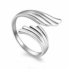 Plated Adjustable Wedding Opening Mouth Ring Double Angel Wings Finger Ring